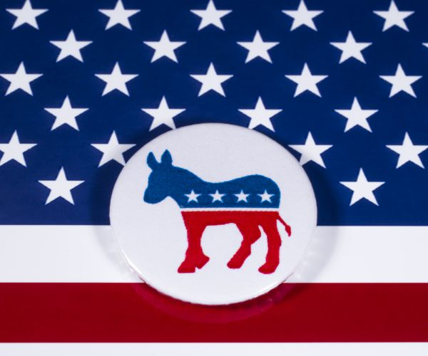 The American flag with the Democratic symbol of a donkey on top